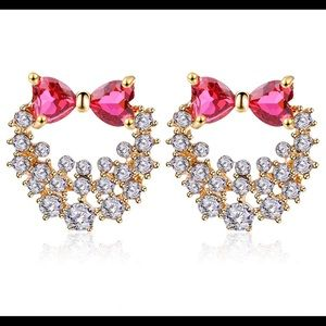 Jewelry - 💥Gold Plated with Red Crystal  Bow Earrings